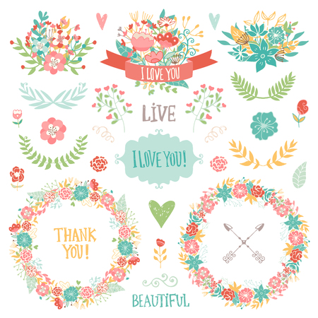 wedding bouquet: Wedding vintage elements collection. Romantic hand drawn floral set with frames, flowers, leaves and ribbons. Romantic vector elements for card. Wedding and romantic theme.