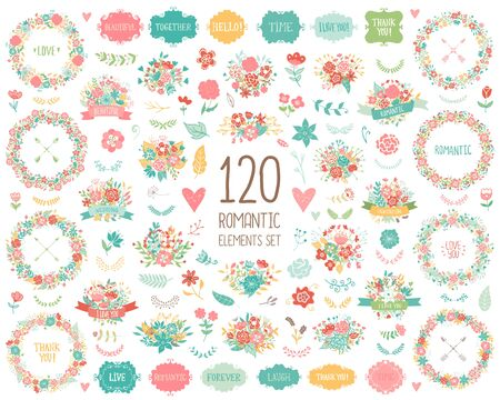 웨딩 빈티지 요소 큰 컬렉션입니다. 로맨틱 손 프레임, 꽃, 잎, 리본 꽃 세트를 그려. 카드 로맨틱 벡터 요소. 날짜 및 초대를 저장합니다.