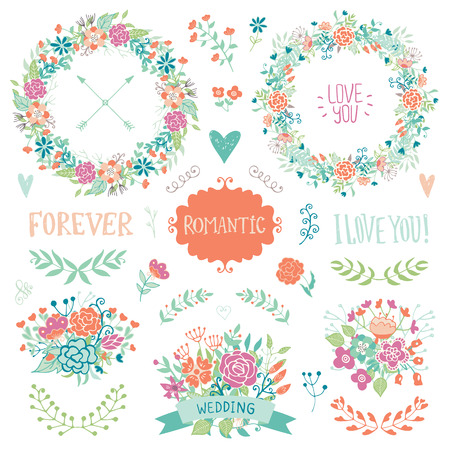 wedding heart: Wedding vintage elements collection. Romantic hand drawn floral set with frames, flowers, leaves and ribbons. Romantic vector elements for card. Wedding and romantic theme.