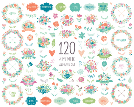 wedding clipart: Wedding vintage elements big collection. Romantic hand drawn floral set with frames, flowers, leaves and ribbons. Romantic vector elements for card. Save the Date and Invitation.