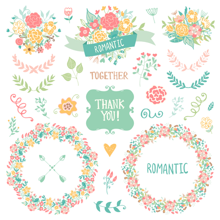 pink floral: Wedding vintage elements collection. Romantic hand drawn floral set with frames, flowers, leaves and ribbons. Romantic vector elements for card. Wedding and romantic theme.