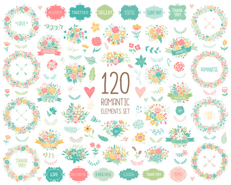 Wedding vintage elements big collection. Romantic hand drawn floral set with frames, flowers, leaves and ribbons. Romantic vector elements for card. Save the Date and Invitation. Vector Illustration