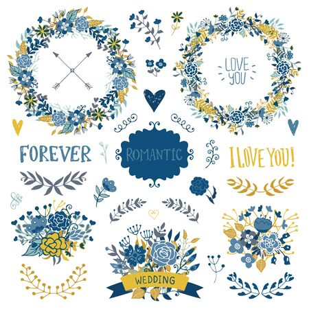 yellow card: Wedding vintage elements collection. Romantic hand drawn floral set with frames, flowers, leaves and ribbons. Romantic vector elements for card. Wedding and romantic theme.