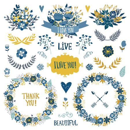 빈티지 요소 컬렉션 결혼식. 로맨틱 손 프레임, 꽃, 잎 및 리본 메뉴와 함께 꽃을 그려. 로맨틱 벡터 요소 카드입니다. 결혼식과 낭만적 인 테마입니다.