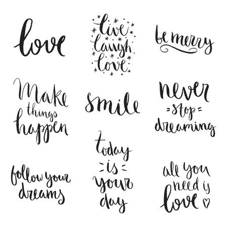 Vector art calligraphy. Hand drawn lettering collection. Vintage illustration. Stock Illustratie
