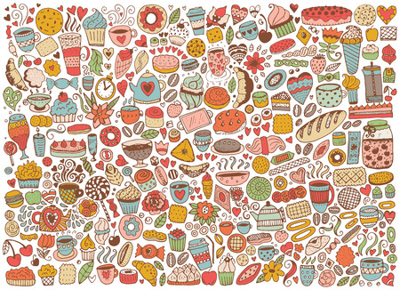 Doodle seamless pattern with cupcakes, cakes and tea. Vector background with sweets. Hand drawn sketch illustration.