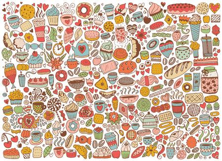 Doodle naadloze patroon met cupcakes, cakes en thee. Vector achtergrond met snoep. Hand getrokken schets illustratie.
