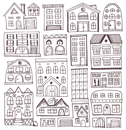 Sketch set of houses in doodle style. Vector illustration, Isolated on white background.