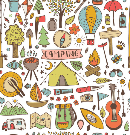 Camping doodle seamless pattern. Vector sketch illustration. Travel and camping items.