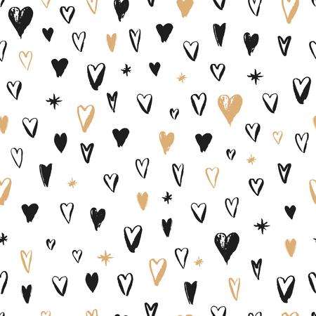 Nahtlose Hand gezeichnetes Muster. Valentinstag Thema. Vector Hintergrund mit Herzen.