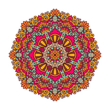 background abstraction: Vector mandala ornament. Round floral pattern. Hand drawn decorative element.