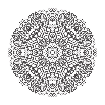 Vector mandala ornament. Round floral pattern. Hand drawn decorative element.