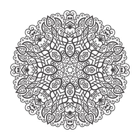 Vector mandala sieraad. Rond bloemmotief. Hand getrokken decoratief element.