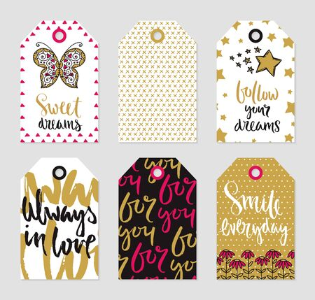 Romantic tags collection. Vector hand drawn tags set of love theme. Çizim