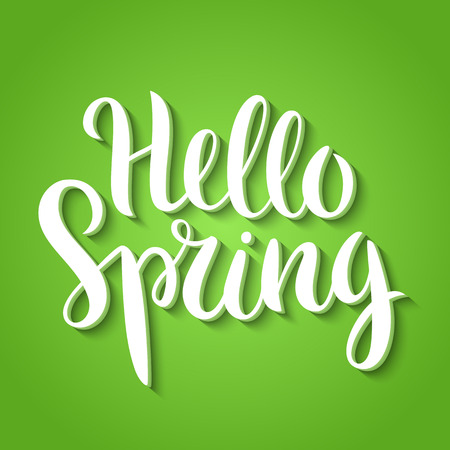 phrase: Hello Spring phrase vector lettering. Hand drawn calligraphy, green background. Illustration