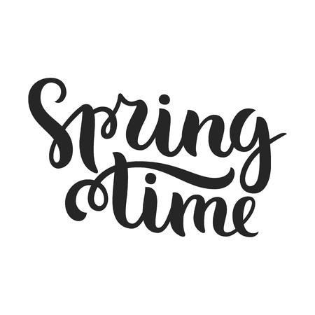 spring time: Vector calligraphy. Hand drawn lettering poster. Vintage typography card. Spring time. Illustration