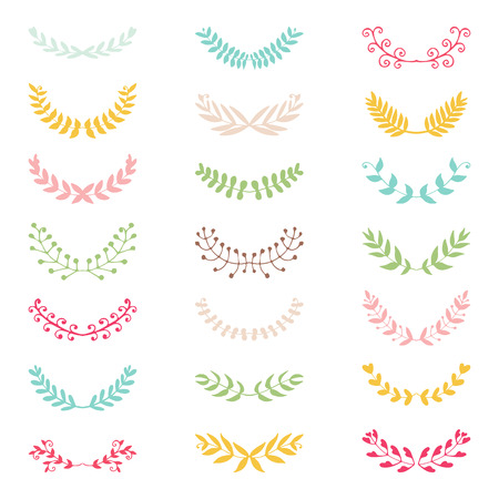 Wedding vintage elements collection. Romantic hand drawn floral set with flowers and leaves. Romantic vector elements for card. Illustration