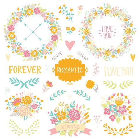 floral elements: Wedding vintage elements collection. Romantic hand drawn floral set with frames, flowers, leaves and ribbons. Romantic vector elements for card. Wedding and romantic theme.