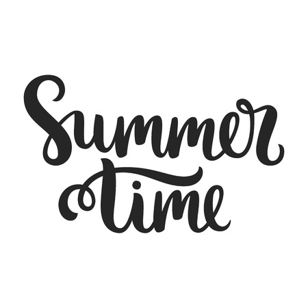 Vector calligraphy. Hand drawn lettering poster. Vintage typography card. Summer time.