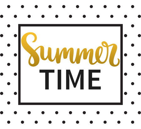 summer time: Vector calligraphy. Hand drawn lettering poster. Vintage typography card. Summer time.
