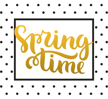 springtime: Vector calligraphy. Hand drawn lettering poster. Vintage typography card. Spring time. Illustration