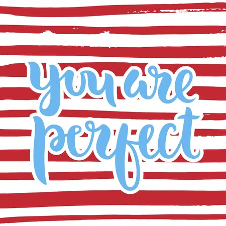 phrase: Vector calligraphy. Hand drawn lettering poster. Vintage typography card. Phrase on a striped background.