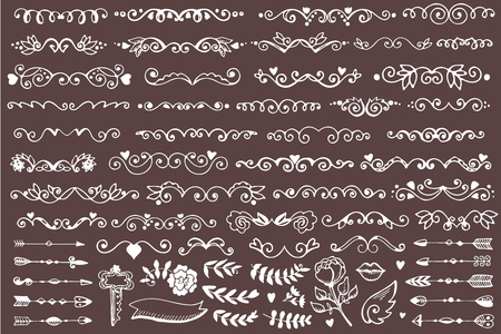 wedding heart: Set of vintage sketch elements. Vector decoration collection. Hand drawn page decor.