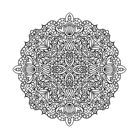 marcos redondos: Vector mandala ornament. Round floral pattern. Hand drawn decorative element.