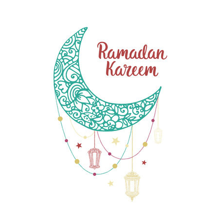 flashlights: Ramadan Kareem theme. Vector card with flashlights, moon and lettering. Hand drawn illustration with lamps and crescent.