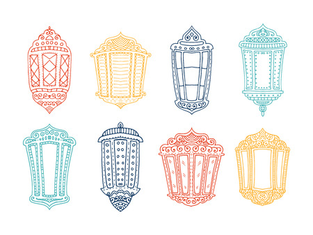 flashlights: Ramadan Kareem theme. Vector card with flashlights. Hand drawn illustration with lamps.