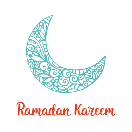 crescent: Ramadan Kareem theme. Vector card with moon and lettering. Hand drawn illustration with crescent. Illustration