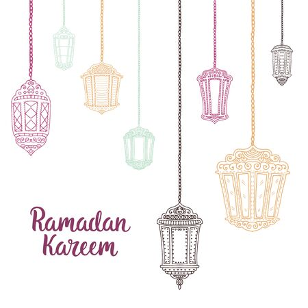 flashlights: Ramadan Kareem theme. Vector card with flashlights and lettering. Hand drawn illustration with lamps.
