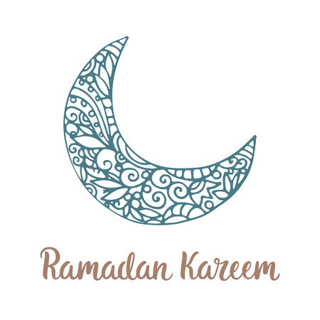 arabian background: Ramadan Kareem theme. Vector card with moon and lettering. Hand drawn illustration with crescent. Illustration