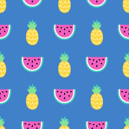 Nahtlose Sommer Muster. Vector Hintergrund mit verschiedenen Elementen. Entwurf für Drucke, Shirts und Poster.