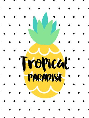 yellow adventure: Summer vector card. Colorful  items. Hand drawn lettering. Tropical background in grunge style.