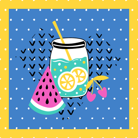 Summer vector card. Colorful  items. Tropical background in grunge style. Illustration