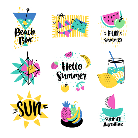 watermelon boat: Summer vector elements collection. Colorful  hand drawn different items. Hand drawn lettering.