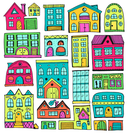 Cartoon set of houses in doodle style. Vector illustration, Isolated on white background. 向量圖像