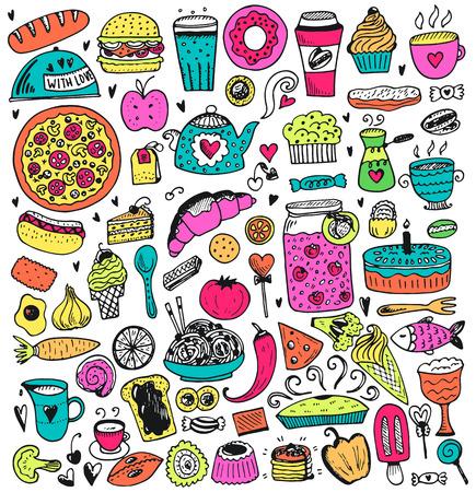 食品落書き要素のコレクションです。ベクトル イラスト漫画のスタイルで。  イラスト・ベクター素材