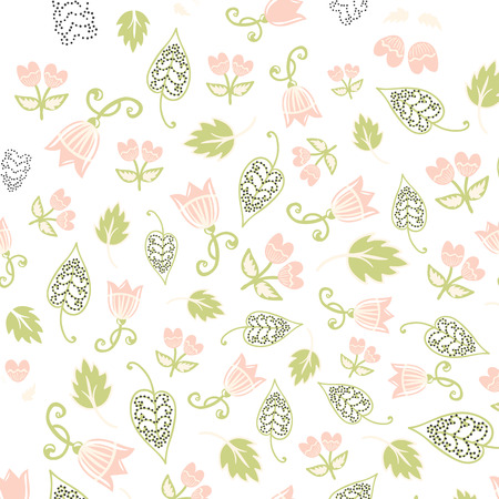 flower petals: Seamless floral pattern. Vector illustration with flowers and leaves. Hand drawn vintage background in shabby chic style. Design for textile and print.