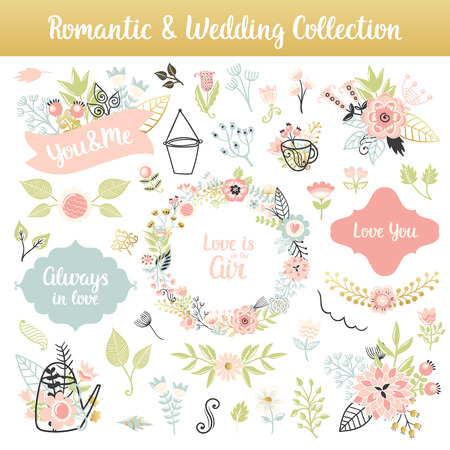 phrases: Floral hand drawn vintage set. Vector colorful frames and phrases, flowers and leaves collection. Isolated page decorations on shabby chic style. Design for patterns, textile, print.