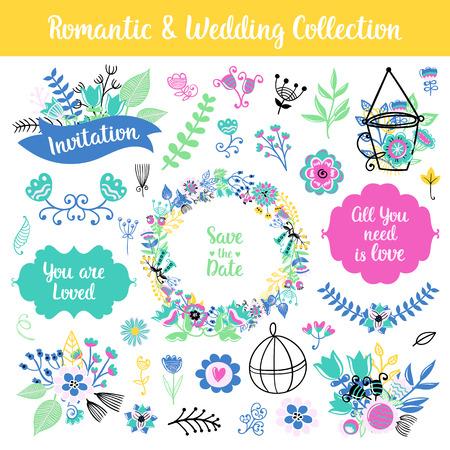 꽃 손 빈티지 세트를 그려. 벡터 화려한 프레임과 문구, 꽃과 컬렉션 나뭇잎. 초라한 세련된 스타일에 고립 된 페이지 장식. 패턴, 섬유, 인쇄 디자인.