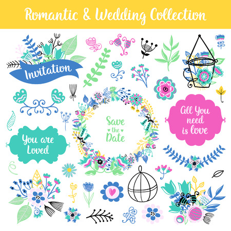 Floral hand drawn vintage set. Vector colorful frames and phrases, flowers and leaves collection. Isolated page decorations on shabby chic style. Design for patterns, textile, print.