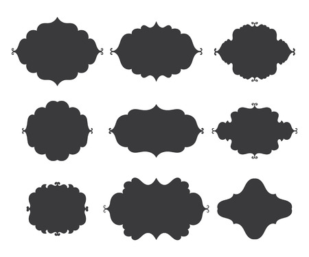decorate notebook: Vintage vector frames on white background. Isolated black shapes for text collection.