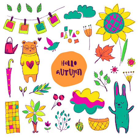 bear berry: Autumn vector isolated elements collection. Colorful hand drawn different items. Doodle style.