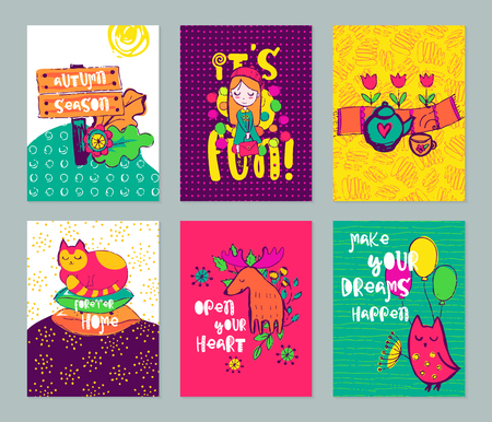 scrap booking: Autumn funny hand drawn cards set. Vector colorful doodle posters collection. Design for scrap booking. Illustration