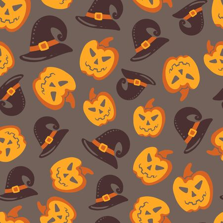 cute wallpaper: Seamless Halloween pattern. Vector background with different elements. Design for prints, shirts and posters. Illustration