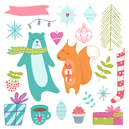 Winter hand drawn elements collection. Color vector illustration on white background. Christmas theme. Illustration