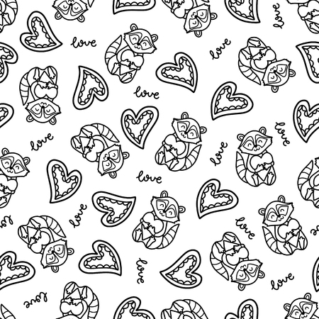 raccoons: Doodles cute romantic seamless pattern. Black vector background. Illustration with hearts and raccoons. Design for T-shirt, textile and prints.