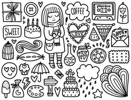 paletas de caramelo: Doodles elementos lindo. Colorear vector negro. Ilustración con el corazón y la torta, muchacha y de regalo, nubes y estrellas. Diseño para las impresiones y tarjetas.